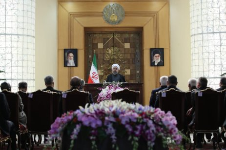 TEHRAN, IRAN - FEBRUARY 9: President of Iran Hassan Rouhani (C) speaks during a conference organized for 38th anniversary of Iranian Revolution at Leader's Conference Room in Tehran, Iran on February 9, 2017. Foreign ambassadors also attended the conference. ( Iranian Presidency - Handout - Anadolu Agency )
