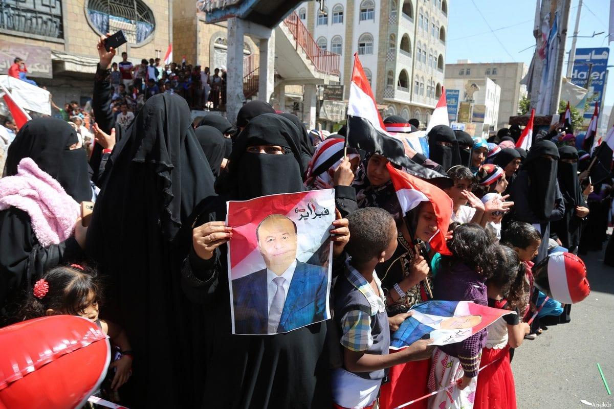 Supporters of President Abdrabbuh Mansur Hadi gather to mark the 6th anniversary of the Yemeni uprising in Taiz, Yemen on February 11, 2017 [Abdulnasser Alseddik / Anadolu Agency]