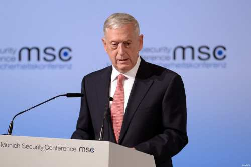 Secretary of Defence James Mattis speaks at the 53rd Munich Security Conference (MSC) at Hotel Bayerischer Hof in Munich, Germany on February 17, 2017 [Andreas Gebert - Anadolu Agency]