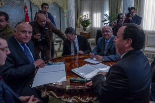 TUNIS, TUNISIA - FEBRUARY 19: Tunisian Foreign Minister Khemaies Jhinaoui (R), Egyptian Foreign Minister Sameh Shoukry (L 2) and Algerian Minister for Maghreb and Africa Affairs Abdel Kadir Mesahil (R 2) attend a meeting to solve the crisis in Libya, at Tunisian Foreign Ministry in Tunis, Tunisia on February 19, 2017. ( Amine Landoulsi - Anadolu Agency )