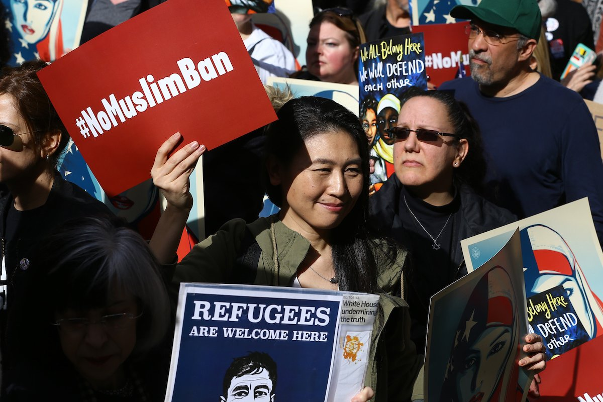 Americans take part in a rally called 'I Am A Muslim Too' in solidarity with American Muslims in New York, US on 19 February 2017 [Volkan Furuncu/Anadolu Agency]