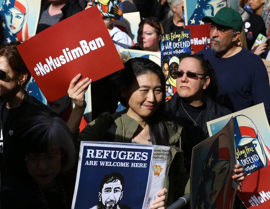 Americans take part in a rally called 'I Am A Muslim Too' in solidarity with American Muslims in New York, US on 19 February 2017 [Volkan Furuncu/Anadolu Agency]