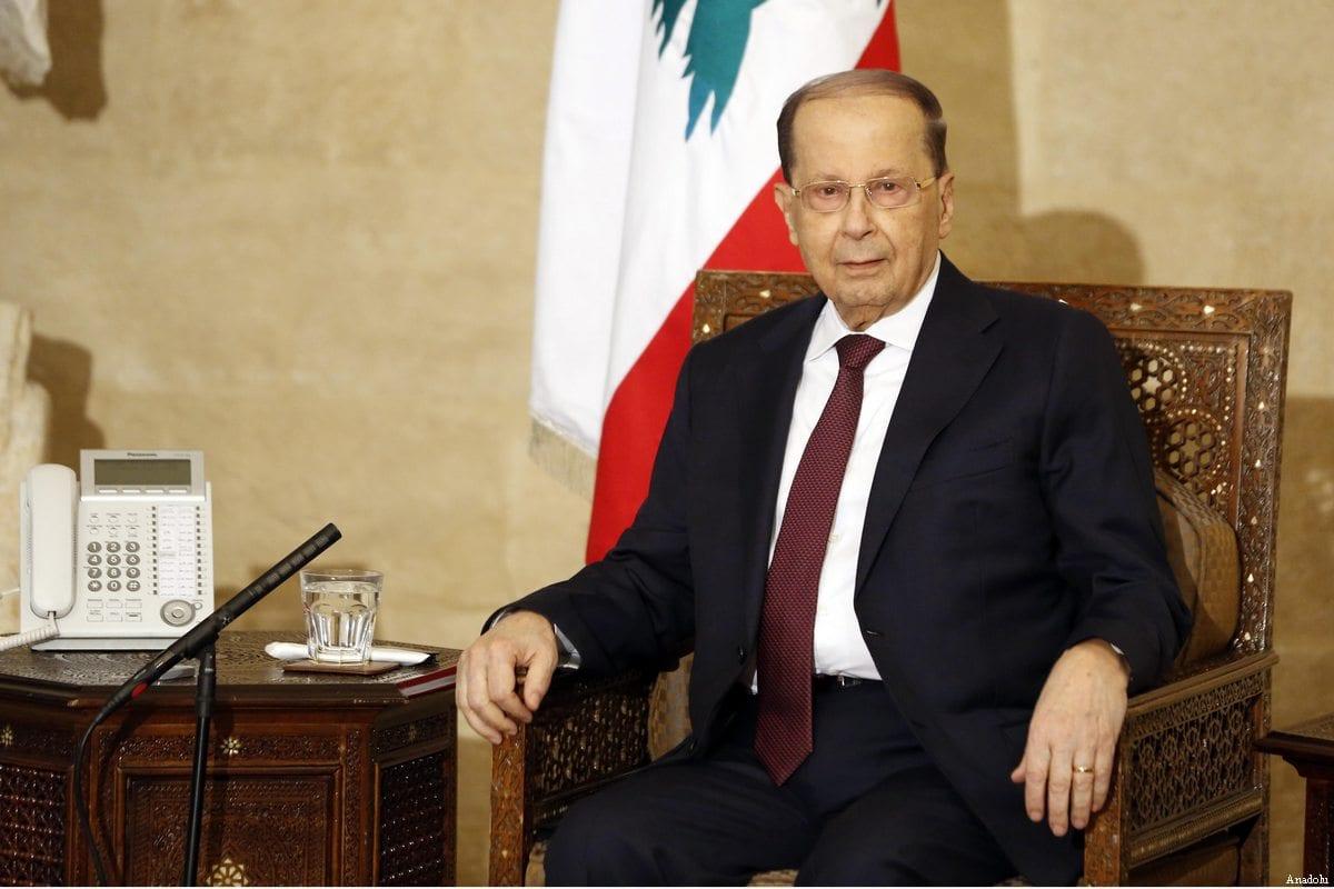 Lebanese President Michel Aoun at the government palace in Beirut, Lebanon on 20 February, 2017 [Ratib Al Safadi/Anadolu Agency]