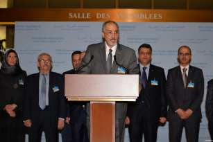 Bashar Jaafari, Permanent Representative of the Syrian Arab Republic to the UN holds a press conference after meeting with UN Secretary-General's Special Envoy for Syria, Staffan de Mistura in Geneva, Switzerland on February 25, 2017 [Mustafa Yalçın / Anadolu Agency]