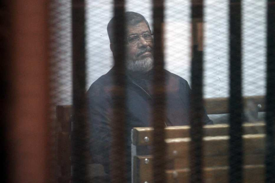 Egypt's ousted President Mohamed Morsi attends a trial session in Cairo, Egypt on February 26, 2017 [Moustafa El Shemy/Anadolu Agency]