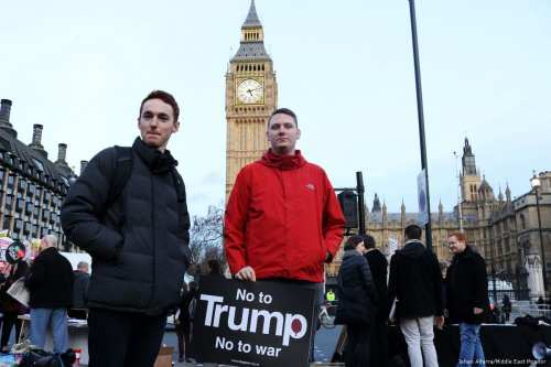 Protesters rally outside the British Parliament in London on 20 February 2017 demanding US President Donald Trump's planned state visit be cancelled [Jehan Alfarra/Middle East Monitor]
