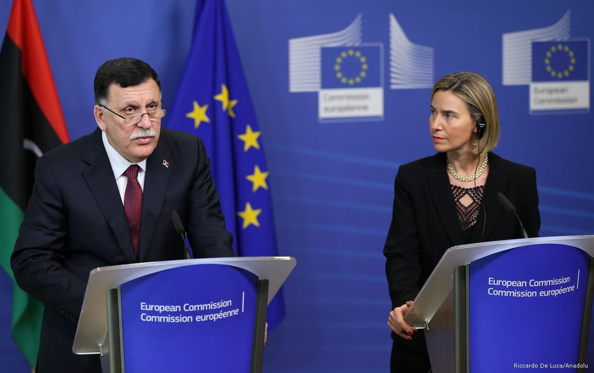 Chairman of the Presidential Council of Libya Fayez al-Sarraj (L) and High Representative of the European Union for Foreign Affairs and Security Policy, Federica Mogherini (R) hold a press conference after their meeting in Brussels, Belgium on February 2, 2017 [Dursun Aydemir /Anadolu Agency]