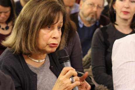 Author Dr Ghada Karmi at a MEMO event to launch Former United Nations Special Rapporteur for Palestine Richard Falk's new book in London, UK, on 20 March 2017 [Jehan AlFarra/Middle East Monitor]