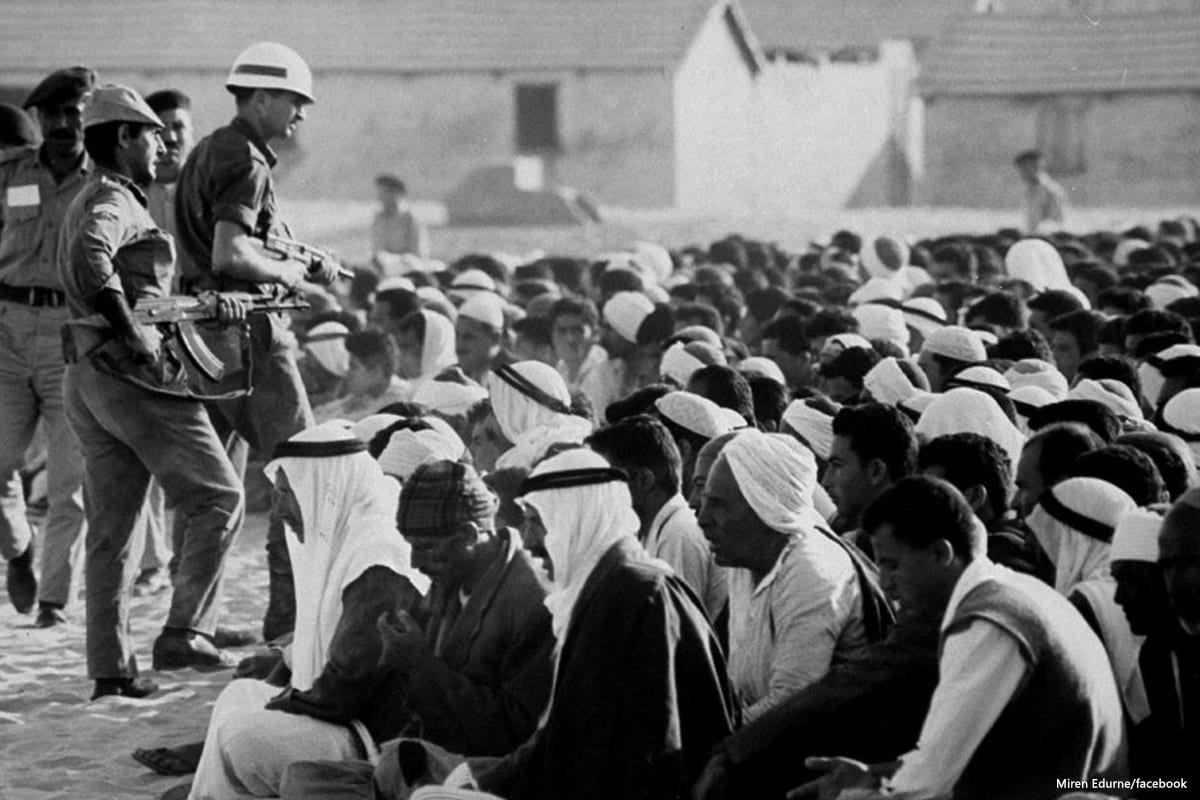 Image of Israeli soldiers interrogating Palestinians during the 1967 Gaza war [Miren Edurne/facebook]