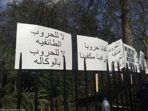 "In a protest against the creation of a UAE military base in Somalia, banners read ""No to sectarian wars, no to proxy wars"" and ""We've had enough war, our problems are enough for us"" outside the UAE embassy in London, UK, on 2 March 2017."