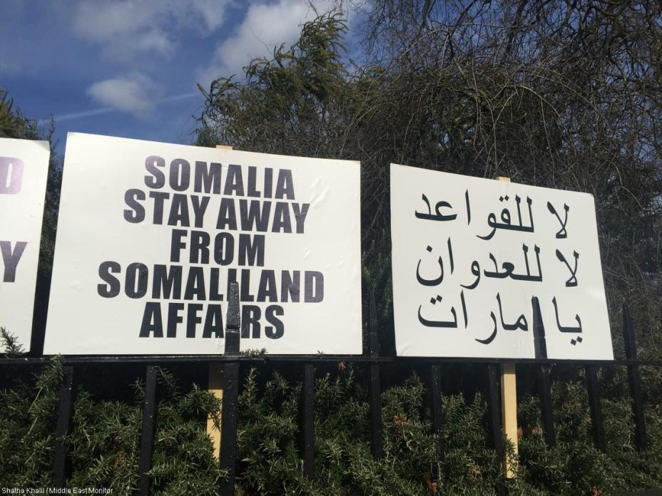 """In a protest against the creation of a UAE military base in Somalia, banners read """"No to military bases, no to aggression"""" outside the UAE embassy in London, UK, on 2 March 2017."""