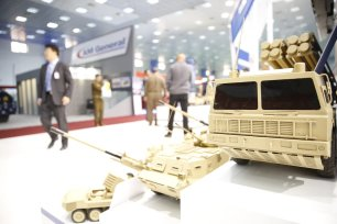 Military vehicles and weaponry on display during the 6th Security and Defense Fair in Baghdad, Iraq on March 5, 2017. ( Murtadha Sudani - Anadolu Agency )