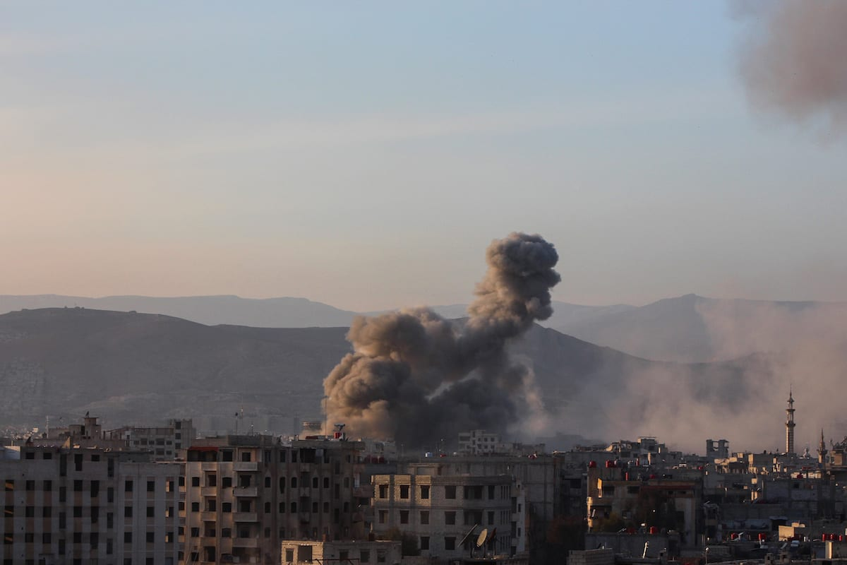 Smoke rises after the Assad Regime carried out airstrikes in Damascus Syria