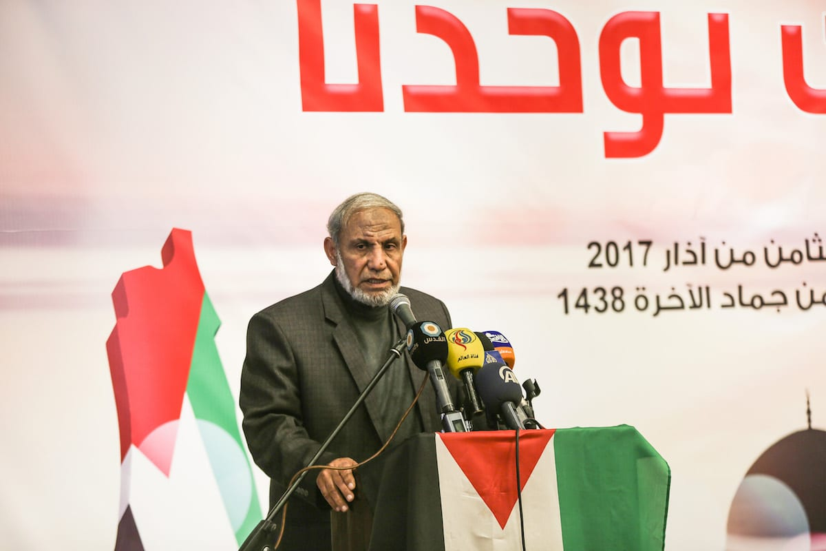 One of the leaders of Hamas Mahmoud al-Zahar delivers a speech during an event organized for the International Women's Day in Gaza City, Gaza on 8 March, 2017 [Mustafa Hassona/Anadolu Agency]
