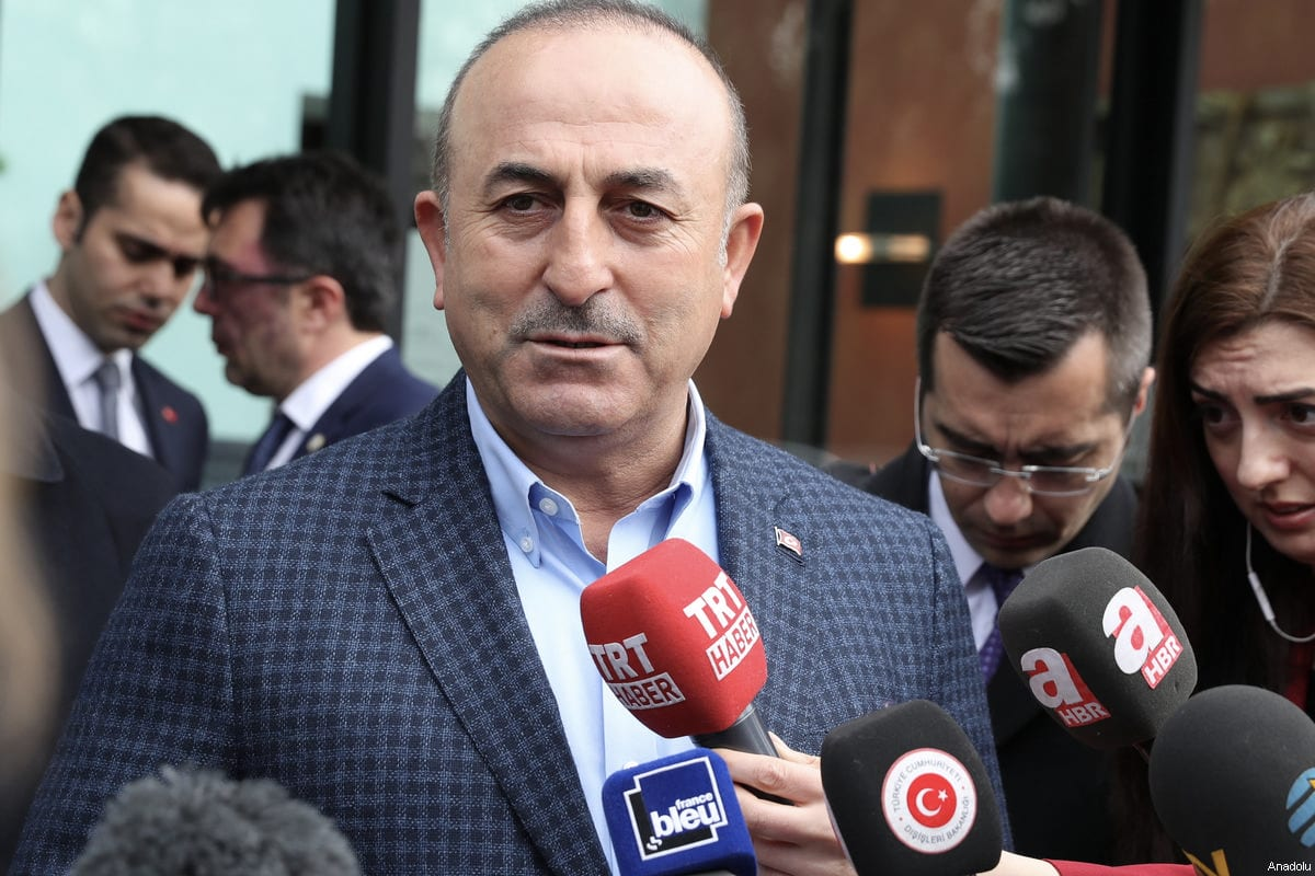 Turkish Foreign Minister Mevlut Cavusoglu speaks to media before a meeting in Metz, France on March 12, 2017 [Cem Özdel / Anadolu Agency]