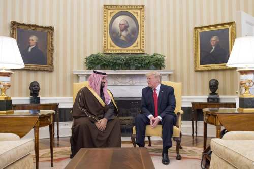 Saudi Defense Minister Mohammad bin Salman Al Saud (L) meets US President Donald Trump (R) at the White House in Washington, United States on 14 March, 2017 [Saudi Kingdom Council/Handout/Anadolu Agency]