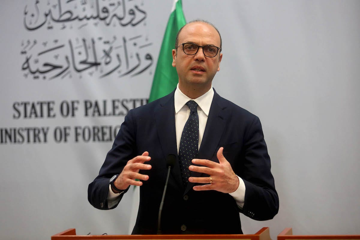 Italian Foreign Minister Angelino Alfano speaks during a joint press conference with Palestinian Foreign Minister Riyad al-Maliki (not seen) following their meeting at the Foreign Ministry building in Ramallah, West Bank on 15 March, 2017 [Issam Rimawi/Anadolu Agency]