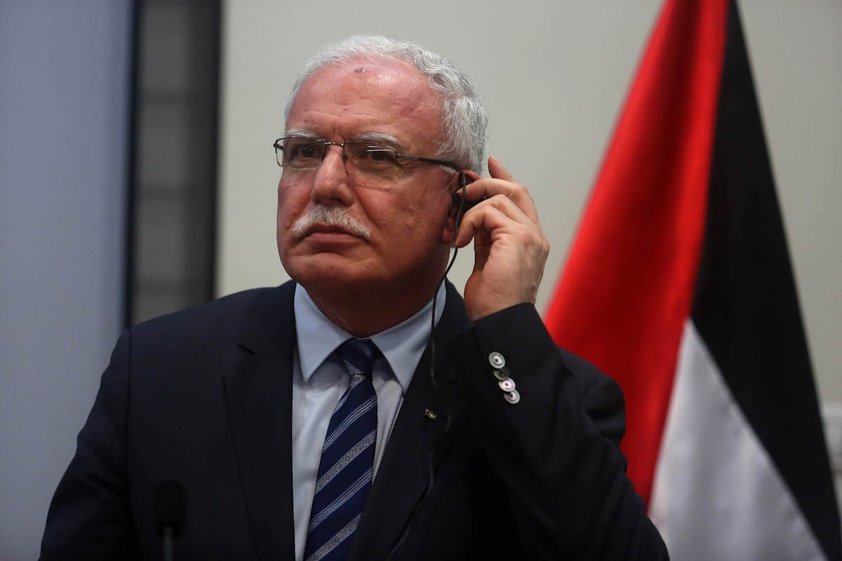 Image of Palestinian Foreign Minister Riyad al-Maliki in Ramallah, West Bank on March 15, 2017 (Issam Rimawi - Anadolu Agency )