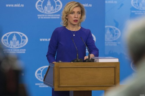 Russian Foreign Ministry spokesperson Maria Zakharova delivers a speech during a press conference at the Russian Foreign Ministry building in Moscow, Russia on 16 March 2017 [Nikita Shvetsov/Anadolu Agency]