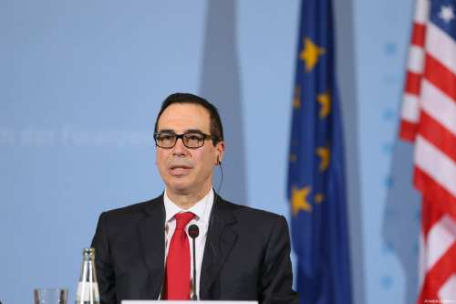 United States Secretary of the Treasury, Steven Mnuchin speaks during a joint press conference with German Finance Minister Wolfgang Schaeuble (not seen) following their meeting in Berlin, Germany on 16 March, 2017 [Cüneyt Karadağ/Anadolu Agency]