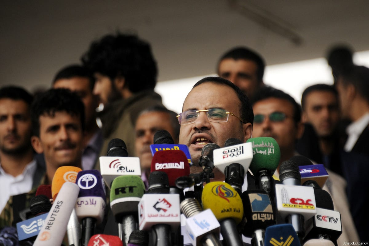 Head of the Supreme Political Council Saleh Ali al-Sammad delivers a speech as Houthis and supporters of ousted leader Ali Abdullah Saleh gather to protest the Saudi-led operations during a rally on the second anniversary of the Operation Decisive Storm at al-Sabin Square in Sanaa, Yemen on March 26, 2017. ( Mohammed Hamoud - Anadolu Agency )