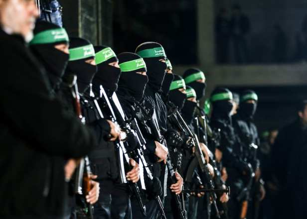 Members of Izz ad-Din al-Qassam Brigades attend the memorial ceremony held for Mazen Fuqaha, who was killed by unknown persons, in Gaza City, Gaza on March 27, 2017. ( Mustafa Hassona - Anadolu Agency )