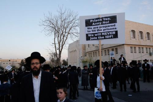 Ultra Orthodox Jewish people stage a protest against compulsory military service in Jerusalem on March 28, 2017 - [Gil Cohen Magen - Anadolu Agency]