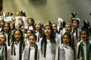 A children perform during the commemoration titled 'Our Land is Our Identity', organized by Culture and Free Thought Association (CFTA) of Palestine, as part of 41st Palestinian Land Day at The Rashad Shawa Cultural Center in Gaza City, Gaza on March 29, 2017 (Mustafa Hassona - Anadolu Agency )