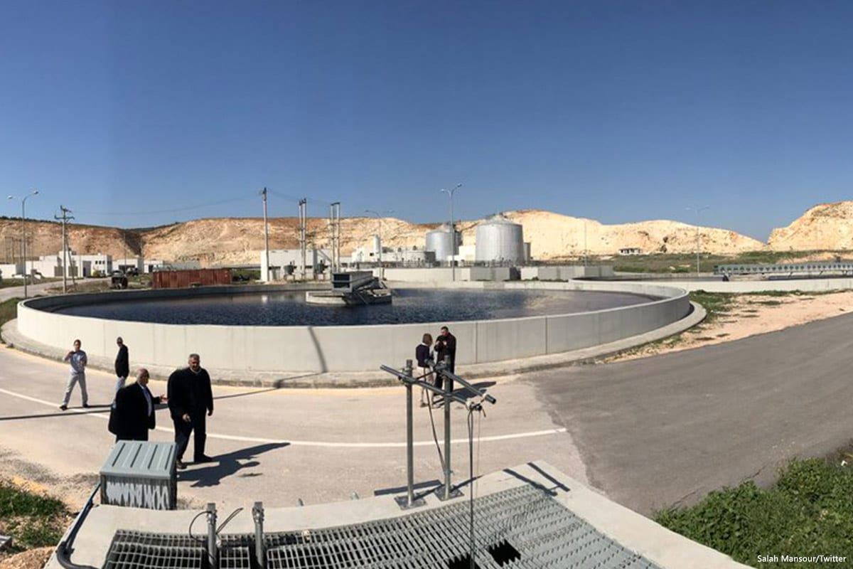 Image of a water waste treatment plant in Irbid, Jordan on 17 February 2017 [Salah Mansour/Twitter]