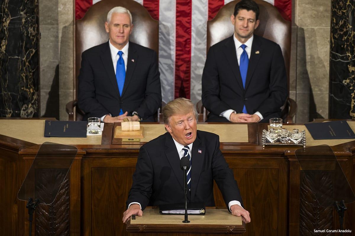 Image of President Trump's Joint Address to Congress [Samuel Corum/Anadolu]