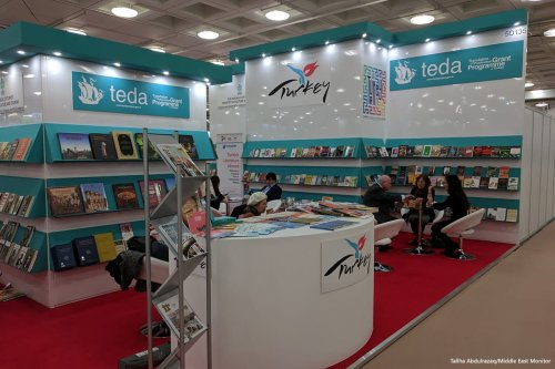 The Turkey's Translation Initiative stall at the London Book Fair on 16 March 2017 [Tallha Abdulrazaq/Middle East Monitor]