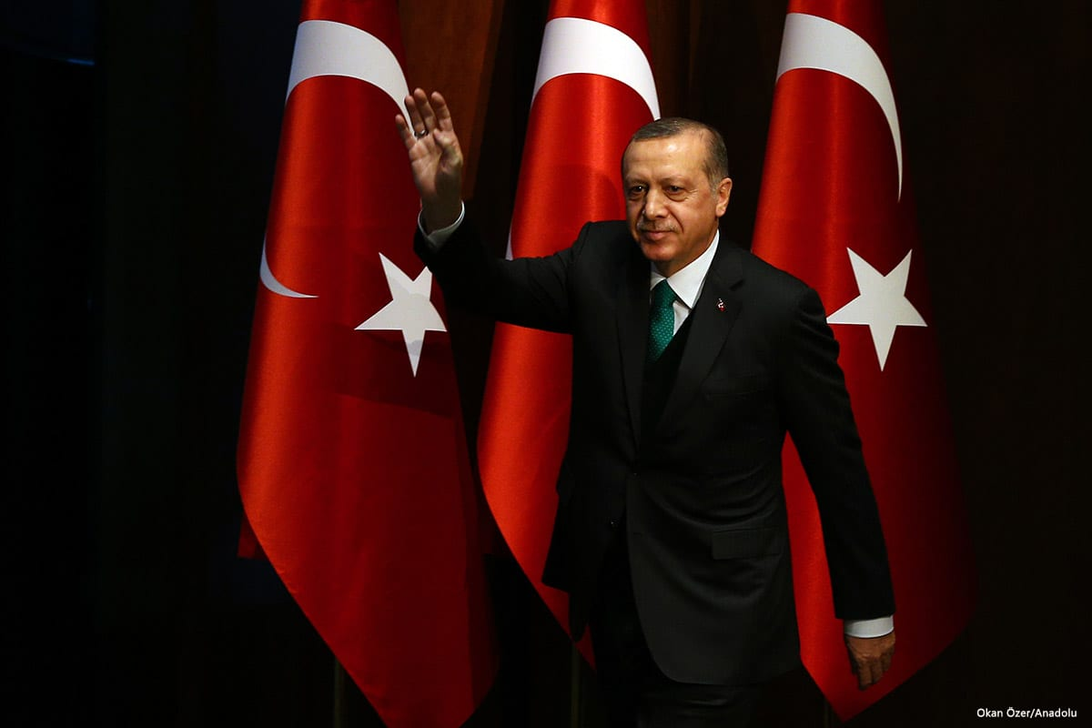 President of Turkey Recep Tayyip Erdogan speaks in a press conference in Ankara, Turkey on 23rd March [Kayhan Özer/Anadolu Agency]