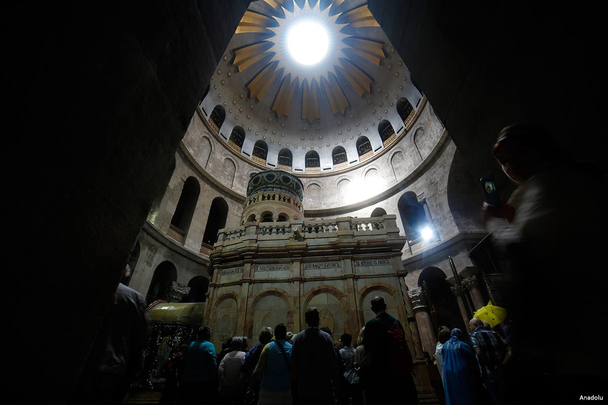 Side view of the Church of the Holy Sepulcher which is opened to worship after the restoration in Jerusalem on 24 March 2017