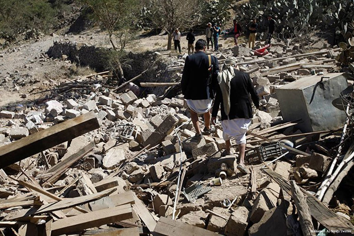 Yemeni people search for those who are caught under the rubble of destroyed buildings after Saudi airstrikes hit Yemen on 14 March 2017 [Mohamed Al-Siraji/Twitter]