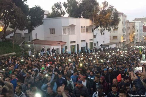 Image of a protest in Morocco on 5th March 2017 [arabthomness/Twitter]