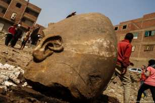 Buried Ramses II Temple discovered in Cairo, Egypt on 9 March 2017 [Ibrahim Ramadan - Anadolu Agency]