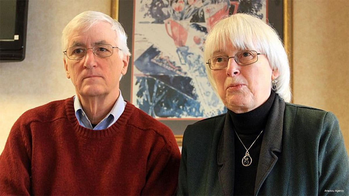 Father, Craig Corrie (L), and mother Cindy Corrie (R) of U.S. activist Rachel Corrie, who died under Israeli bulldozer in Gaza on March 16, 2003