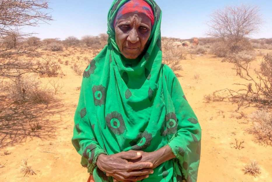 """Only God knows why we are still alive. We thank Him that he has allowed us to live another day…The water is scarce, and we are weak. I'm so tired, and I'm old. [PHOTO CREDIT Somali Faces]"""