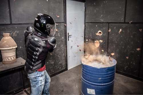 Clients at Unleashed in the Egyptian capital, Cairo, are outfitted in protective gear from head to toe and led into one of the six rooms where they can hack away at the objects of their anger.