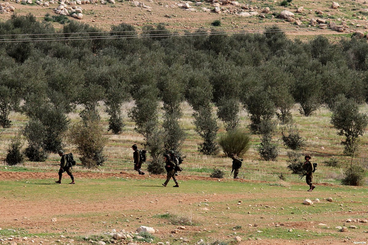 Israeli soldiers take part in a military training near Jeftlek village near Jordan Valley in the West Bank, on January 24, 2017 [Nedal Eshtayah / ApaImages]