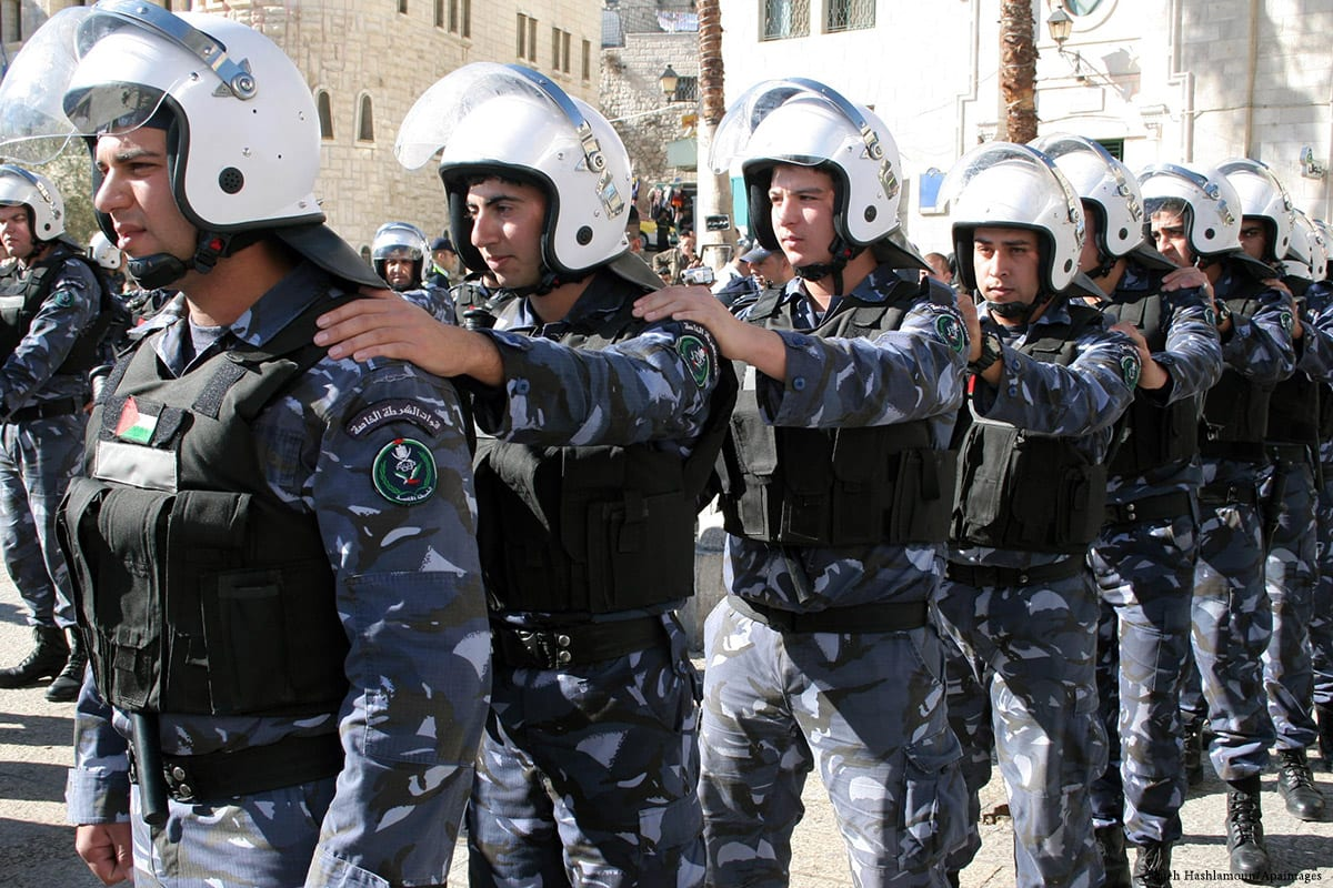 Image of Palestinian police forces in West Bank [Najeh Hashlamoun/Apaimages]