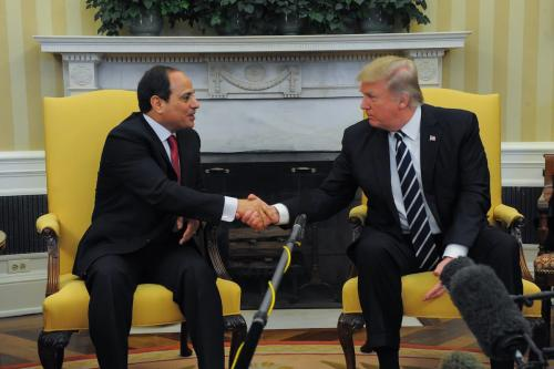 U.S. President Donald Trump meets Egyptian President Abdel Fattah el-Sisi (L) at the White House in Washington, United States on 3 April 2017 [Presidency of Egypt / Handout/Anadolu Agency]