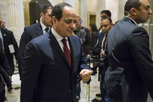 Egyptian President Abdulfettah el-Sisi arrives for a meeting with members of the U. House Foreign Affairs Committee in Washington, US on April 4, 2017. ( Samuel Corum - Anadolu Agency )