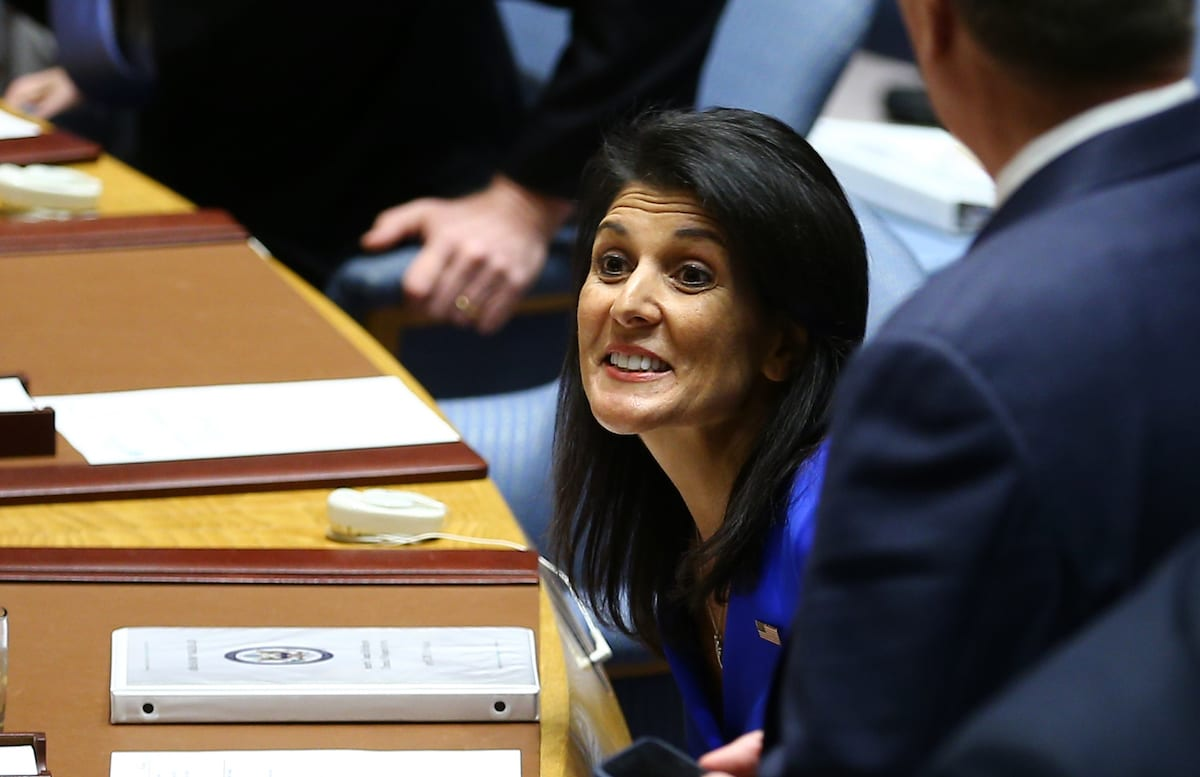 US Ambassador to the United Nations Nikki Haley (C) attends a meeting of the United Nations Security Council on April 5, 2017 in in New York, US (Volkan Furuncu - Anadolu Agency )