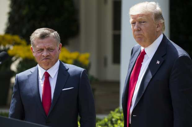 US President Donald Trump and King Abdullah II bin al-Hussein of Jordan during a joint press conference in the Rose Garden of the White House in Washington, USA on April 5, 2017. ( Samuel Corum - Anadolu Agency )