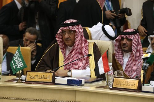 Saudi Arabian Crown Prince and Minister of the Interior Muhammad bin Nayef Abdulaziz (2nd R) is seen during 34th meeting of Arab Interior Ministers Council in Tunis, Tunisia on April 05, 2017 [Yassine Gaidi - Anadolu Agency]