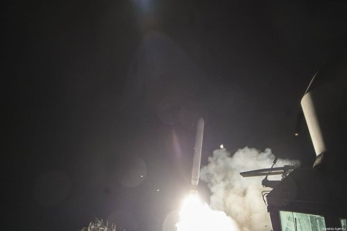US forces fire a missile at the Syrian military airbase on 7 April 2017 [Robert S. Price/US Navy]