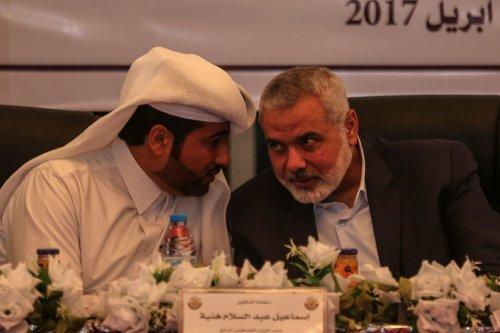 Ismail Haniyeh, the deputy leader of Hamas (R) and Khalid al-Hardan Deputy Head of the reconstruction committee in Gaza (L) are seen during the opening ceremony of Sheikh Hamad bin Khalifa Al Sani Mosque which was constructed by Qatar government in Khan Yunis south eastern Gaza City, Gaza on April 10, 2017. ( Ali Jadallah - Anadolu Agency )