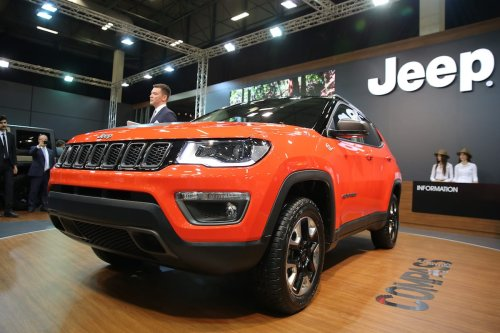 A Jeep Compaas is being displayed during the Istanbul Autoshow 2017 at the TUYAP Fair and Convention Centre in Istanbul, Turkey on April 20, 2017. ( İsa Terli - Anadolu Agency )
