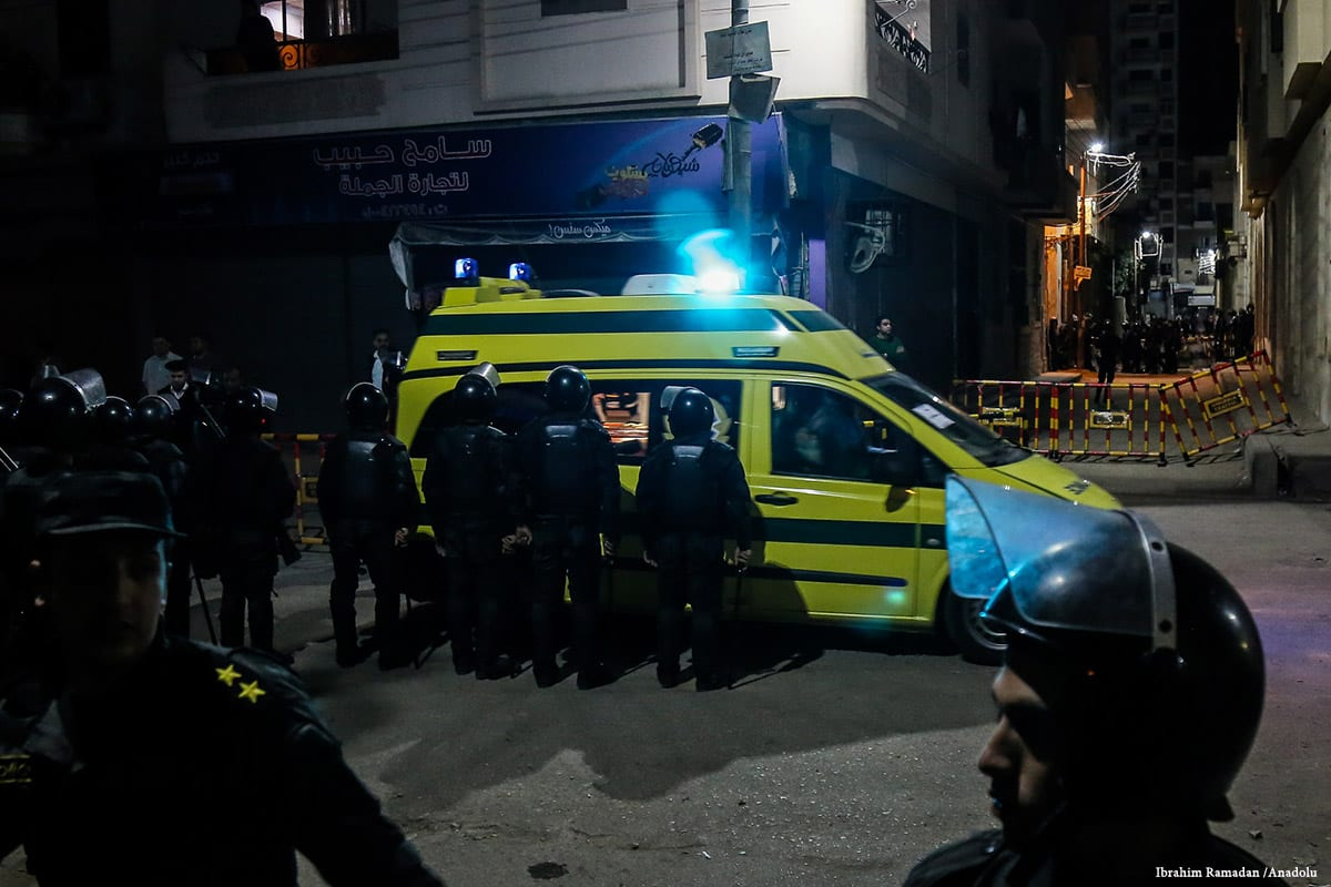 Ambulances and Egyptian security forces are seen outside of the church which suffered a bomb blast in Tanta, Egypt on April 09, 2017 [İbrahim Ramadan]